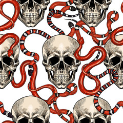Skulls and red snakes. Vector seamless pattern