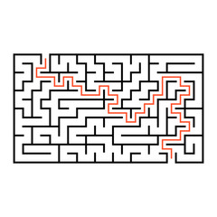 Abstract rectangular maze. Game for kids. Puzzle for children. One entrance, one exit. Labyrinth conundrum. Flat vector illustration isolated on white background. With answer.