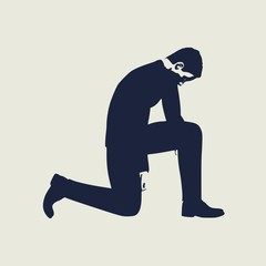Illustration of silhouette of businessman stand to kneel.