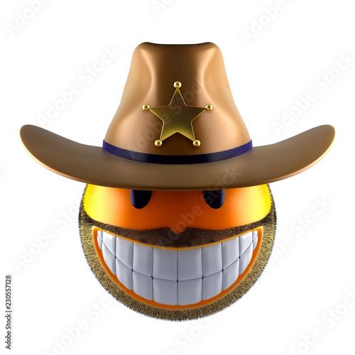 Sheriff emoji sphere concept
