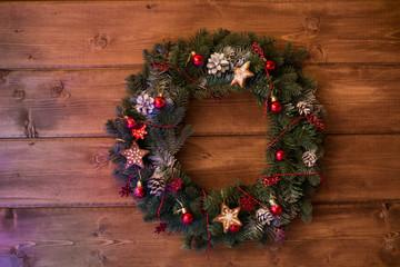 Christmas wreath on the wall