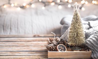 Christmas festive decor still life on wooden background