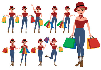 Shopping woman vector characters set. Girl store customer cartoon character holding shopping bags with different pose and hand gestures. Vector illustration.