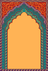 Traditional ornamental background with arched frame