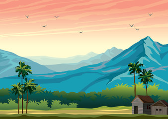 Tropical landscape - hut, mountains, palm tree.