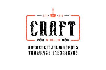 Craft beer emblem and decorative serif font in vintage style