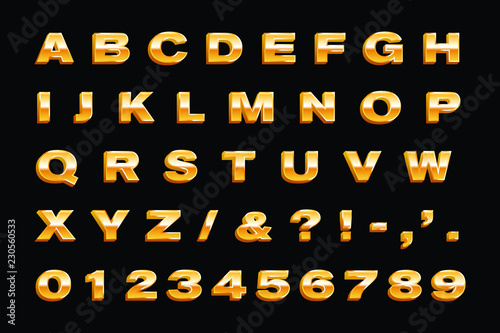 Gold Alphabet  Metallic Font  3d letters and Numbers