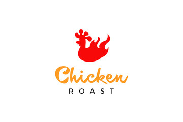 Chicken roast logo template with type of pictorial logo inspiration. Can use for corporate brand identity, culinary, food truck, cafe, and delivery