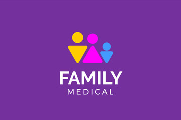 Family medical logo template with type of abstract logo inspiration can use for corporate brand identity, pharmacy, medical, hospital