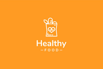 Healthy food logo template with type of line art logo can use for corporate brand identity, pharmacy, medical, hospital