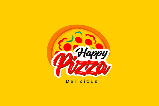 Happy pizza delicious logo template with type of pictorial colorful logo. Can use for corporate brand identity, culinary, food truck, cafe, and delivery