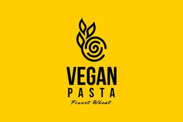 Vegan pasta logo template with type of line art logo inspiration. Can use for corporate brand identity, culinary, food truck, cafe, and restaurant