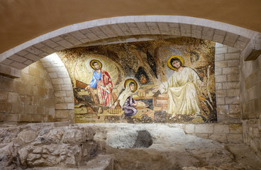 The Holy family mosaic at church of Saint Joseph in Nazareth