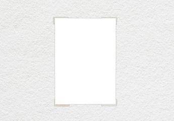 White paper sticked on white wall