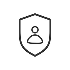 Privacy icon, flat shield with person silhouette symbol, personal protection sign, authentication security icon, secure confidentiality label.
