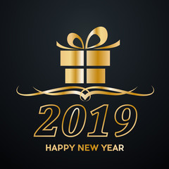 2019 Happy New Year. Greeting, Gift or Purchases. Golden vector illustration