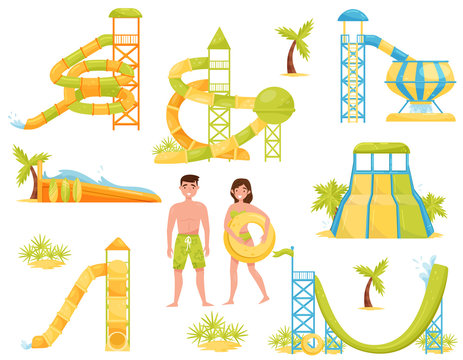 Flat vector set of water slides, surfing wave pool and people in swimming suits. Aqua park equipment. Extreme attractions