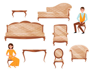 Flat vector set of classic furniture, young man and woman in formal clothes. Objects for home interior. Cartoon people characters