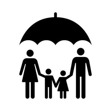 Umbrella covering family or life insurance for family flat vector icon for apps and websites