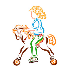 Curly kid riding on a children's horse