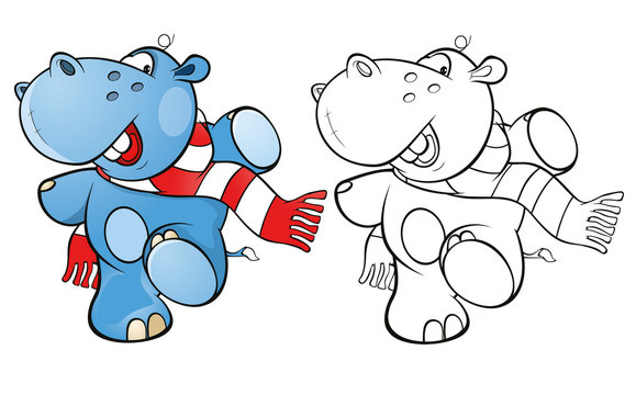 Illustration of a Cute Little Hippo Cartoon Character. Coloring Book