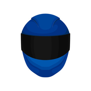 Solid bright-blue motorcycle helmet with black windshield. Full face protective gear for motorcyclist. Flat vector design
