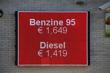 Led display board with the petrol prices in the Netherlands per liter (0,26 Gallon)