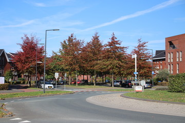 Roundabout in the Nesselande district in Rotterdam with a lot of colors during autumn season and during rush hours this is with traffic jam to get district out