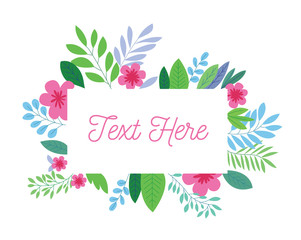 Frame template spring colorful flower