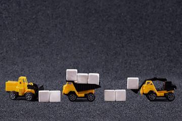 working machine moving stone blocks
