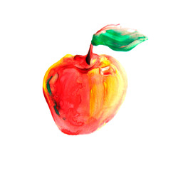 Hand drawn watercolor painting sketch fruit on white background
