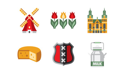 Netherlands travel icons set, Holland national symbols and landmarks vector Illustration on a white background