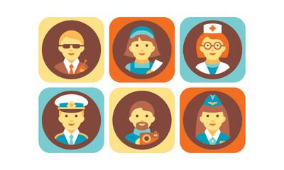 Profession icons set, bodyguard, nurse, doctor, pilot, stewardess, photographer working people vector Illustration on a white background