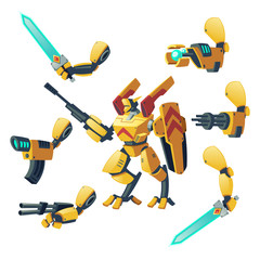 Vector cartoon android, human soldier in robotic combat exoskeletons with guns isolated on background. Battle robot with various weapons, cyborg humanoid. Character for computer games