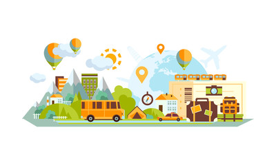 City and countryside landscape with location marks, navigation service for travel and business vector Illustration
