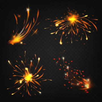 Vector realistic collection of fireworks, sparks from welding or cutting metal. Bright shining comet, burning decoration for holiday. Explosion of flammable element. Set isolated on dark background.