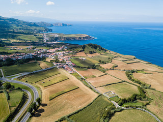Aerial view of the green fields of San Miguel island, Azores, Portugal.