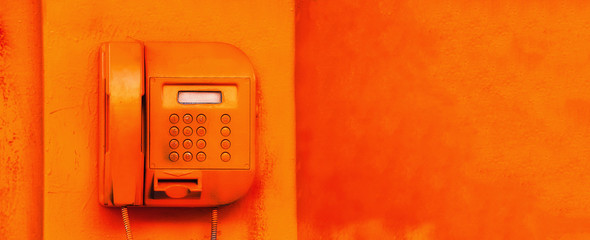 old street orange phone. screen and buttons