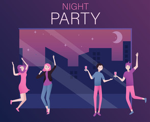 Night party poster or invitation with happy people.