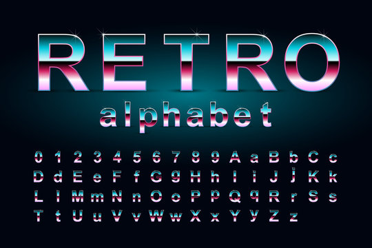 Retro alphabet. 80's style vector font isolated on dark background