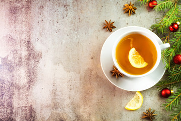 Tea with ginger and lemon. Hot autumn and winter drink
