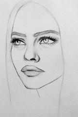 Portrait, caricature of woman