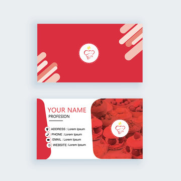 Modern business card template chef bakery