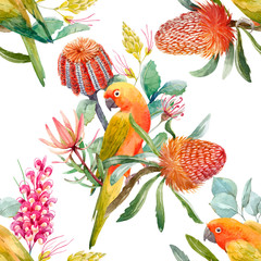 Foto op Canvas Papegaai Watercolor tropical parrots vector pattern