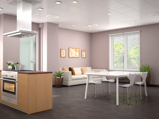 Interior design modern kitchen studio. 3d illustration