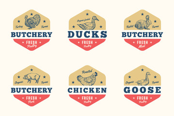 Farm Meat and Poultry Abstract Vector Signs, Symbols or Logo Templates Set. Hand Drawn Domestic Animals and Birds Sillhouettes with Retro Typography. Vintage Emblems or Banners.