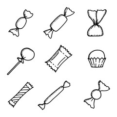candy icons black set. isolated objects