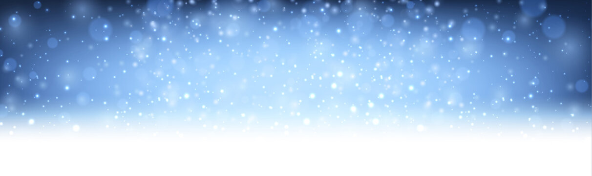 Blue shiny blurred winter banner with snow.
