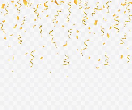 Golden confetti isolated. Festive background. Vector illustration
