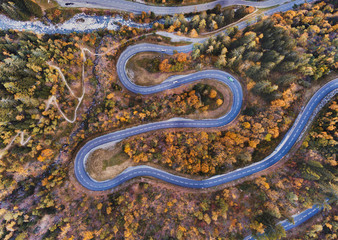 Travel by winding road in autumn forest, aerial landscape of fall season nature.